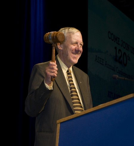 Walter W. Buchanan bangs the gavel and declares the end of the 2011-2012 ASEE Society Year